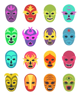 Lucha libre mask, martial wrestler fighter clothes sport uniform colored masks colored icon