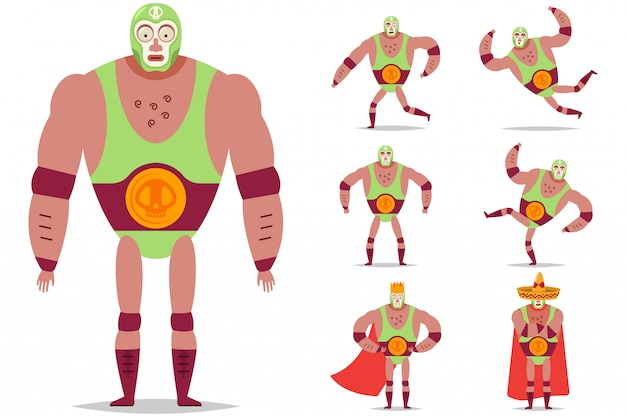 Lucha libre mexican wrestler in mask vector cartoon character set isolated.