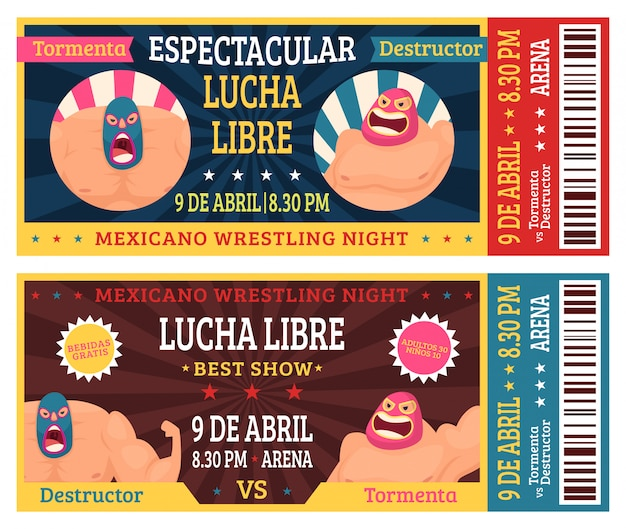 Lucha libre ticket. mexican wrestlers in masks luchador martial fighting announcement  design template
