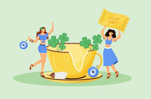 Luck charms and good omens flat concept illustration. young superstitious women with talismans 2d cartoon characters for web design. fortune symbols, common beliefs creative idea