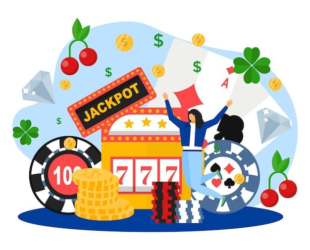 카지노 개념, 벡터 일러스트 레이 션에 행운. 행복하고 평평한 작은 여성 캐릭터는 온라인 도박에서 잭팟, 포춘 휠을 이깁니다. 슬롯 게임기