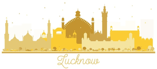Lucknow 인도 도시 스카이 라인 황금 실루엣입니다. 벡터 일러스트 레이 션. 관광 프레젠테이션, 배너, 현수막 또는 웹 사이트에 대한 간단한 평면 개념. 랜드마크가 있는 러크나우 도시 풍경.