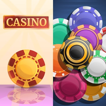 Lucky casino chips illustration set
