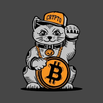 Lucky cat bitcoin cryptocurrency money