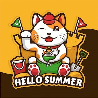 夏の季節のデザインを祝う幸運な猫