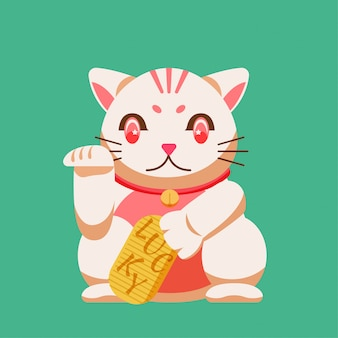 The lucky cat isolate on green background