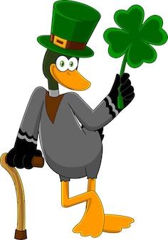 Счастливая утка лепрекон мультипликационный персонаж, держащий клевер. иллюстрация