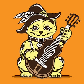 Lucky fortune cat playing acoustic guitar cowboy style