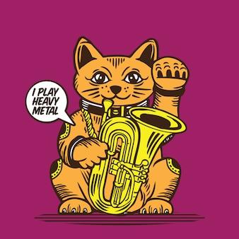 Lucky fortune cat playing tuba trombone music