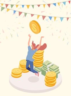 Lucky jackpot winner vector character