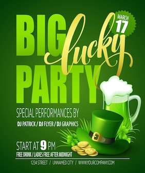 Lucky party poster. st. patricks day.  illustration