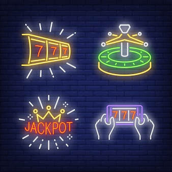 Lucky seven, roulette and jackpot neon signs set
