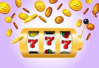 Lucky seven slot machine and golden coins on purple background.