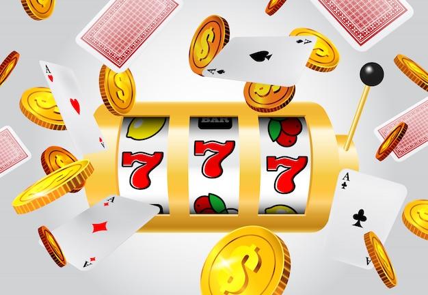 Счастливый семь игровых автоматов, летающих тузов и золотых монет на сером фоне.