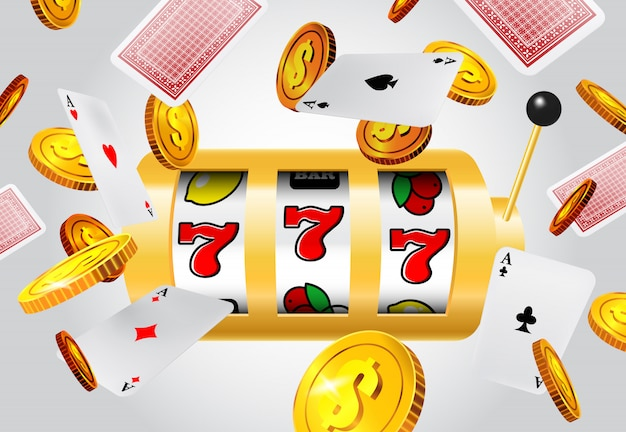 Lucky seven slot machine, flying aces and golden coins on grey background.