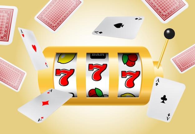 Lucky sette slot machine e assi volanti su sfondo giallo.