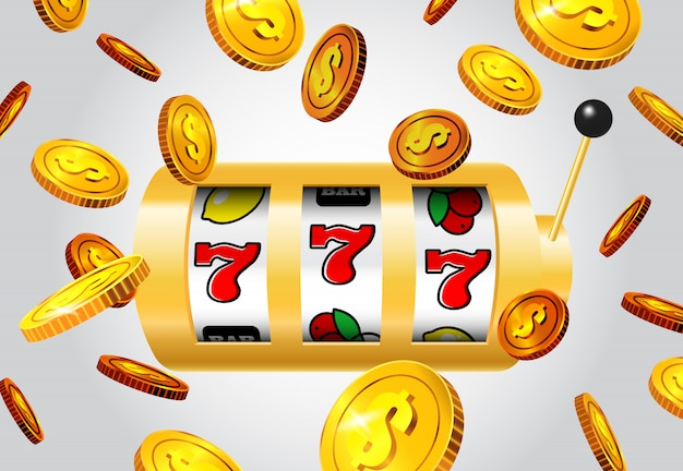 Lucky seven slot machine and flying golden coins on grey background.