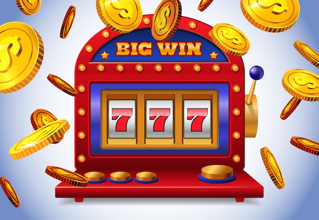 Lucky seven slot machine with big win lettering and flying golden coins.