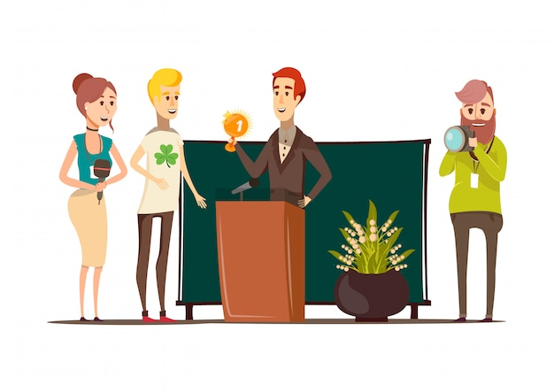 Lucky situations flat composition with prizewinner behind the podium photographer reporter and journalist doodle style characters vector illustration