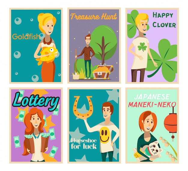 Lucky situations posters collection of flat image compositions with happy human characters and text vector illustration