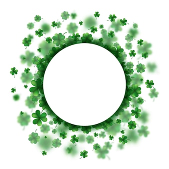 Lucky spring design with shamrock. clover round border.
