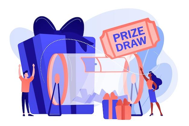 ラッフルの小さな人々がチケットと賞品のギフトボックスでラッフルドラムを回します。賞品抽選、オンラインランダム抽選、プロモーションマーケティングコンセプト。ピンクがかった珊瑚bluevector分離イラスト
