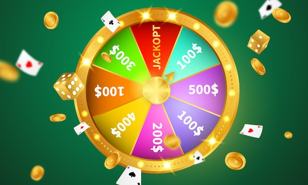 Lucky wheel casino luxury vip invitation with confetti celebration party gambling