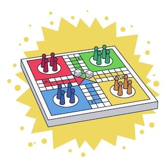 Настольная игра людо в разных ракурсах