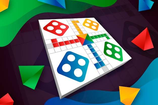 Ludo boardgame in different perspectives