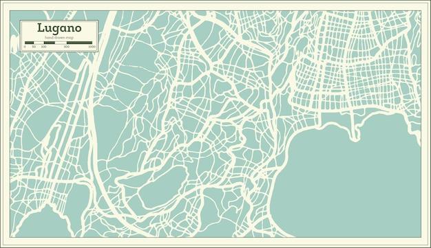 복고 스타일의 루가노 스위스 도시 지도입니다. 개요 지도. 벡터 일러스트 레이 션.