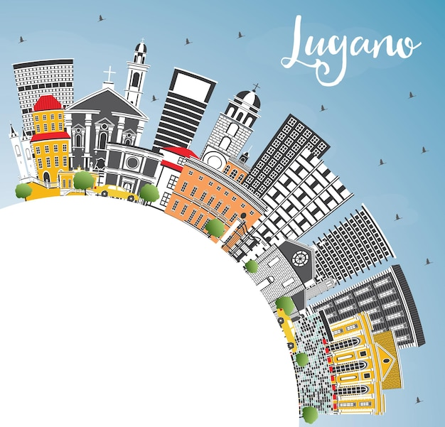 灰色の建物、青い空、コピースペースのあるルガーノスイスのスカイライン。ベクトルイラスト。歴史的な建築と出張と観光のイラスト。