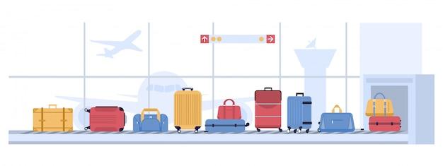 荷物空港カルーセル。手荷物スーツケースのスキャン、バッグとスーツケース付きの荷物コンベヤーベルト。航空会社の飛行輸送図