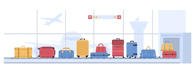 Luggage airport carousel. baggage suitcases scanning, luggage conveyor belt with bags and suitcases. airline flight transportation  illustration