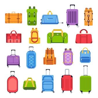 짐 가방. 여행, 관광 및 휴가, 여행 가방 및 가죽 액세서리 아이콘 수하물 핸드백을 설정합니다. 여행 필수품. 가치. 만화 삽화