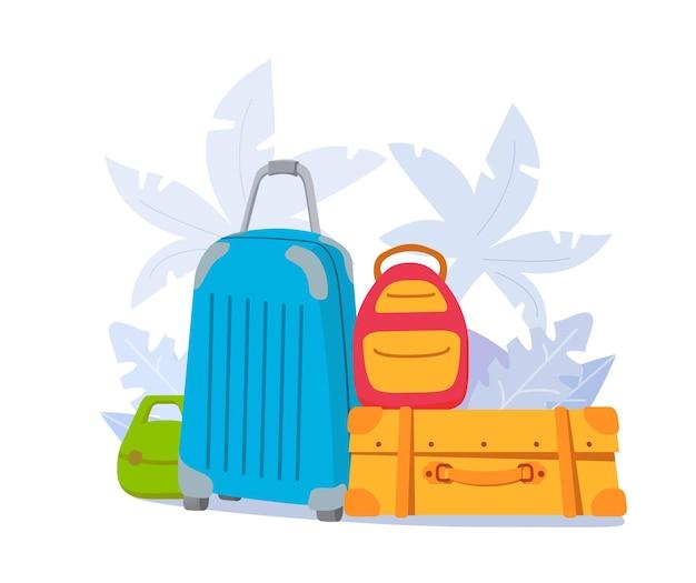 荷物バッグ。旅行用の手荷物ハンドバッグ。旅行スーツケース。ヤシの木との休暇旅行。