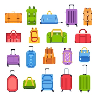 Luggage bags. baggage handbag for trip, tourism and vacation, travel suitcases and leather accessories   icons set. journey essentials. valises. cartoon  illustrations