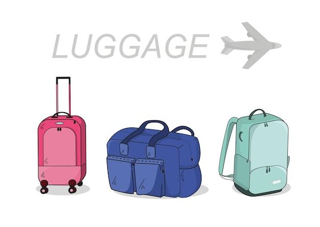 旅行用のラゲッジバッグ。ホイール付きスーツケース、ソフトスポーツバッグ、バックパック。