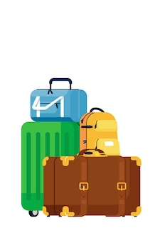 Luggage bags.  retro and modern travel suitcase and backpack baggage pile icon.  trip and journey luggage bags transportation concept
