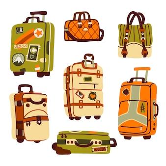 여행 및 휴가 여행을위한 수하물 가방, 여행 가방 및 배낭.