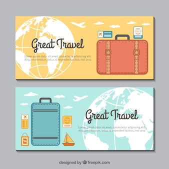 Luggage banners in flat design