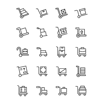 Luggage cart line icons pack