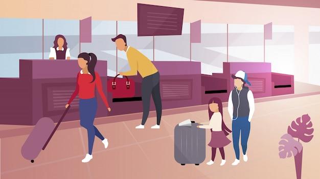 空港での荷物チェックフラットイラスト。スーツケースを運ぶ漫画観光客。男性の乗客、税関職員の管理のためにバッグを提出する旅行者。コンベアベルトから荷物を取る父