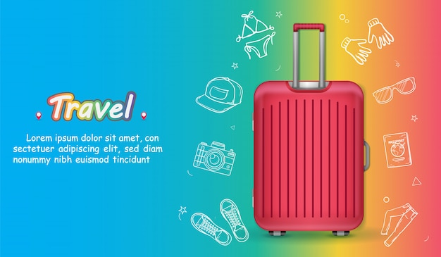 Luggage and doodle hand draw accessories travel around the world concept summer banner.