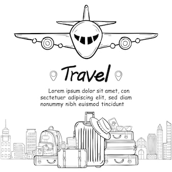 Luggage and doodle hand draw travel around the world concept summer