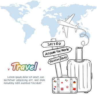 Luggage and doodle hand draw travel around the world concept summer.