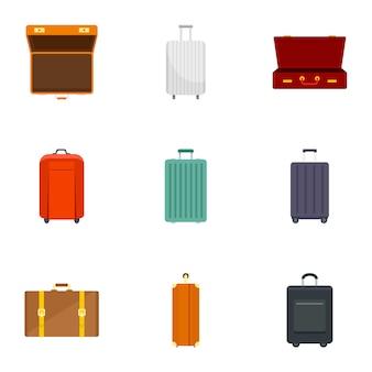Luggage icon set, flat style