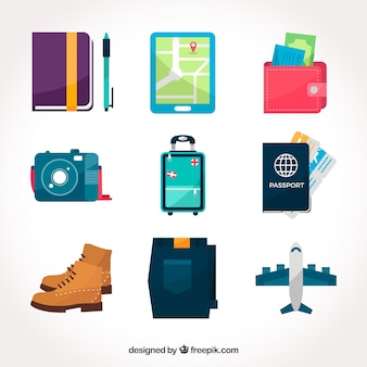 Luggage pack with other travel elements in flat design