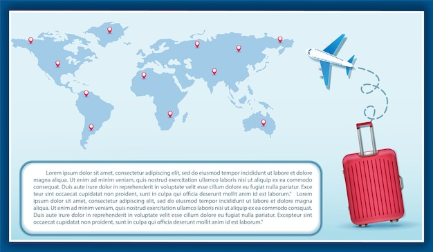 Luggage plane check in point travel concept world map
