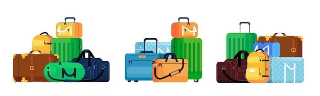 荷物セット。レトロでモダンな旅行スーツケースとバックパックの手荷物山アイコンセット。旅行や旅の荷物バッグ輸送コレクション