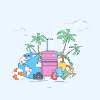 Luggage summer location trip tropical island with palm tree